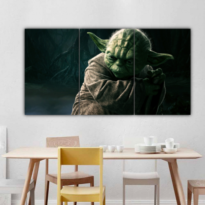 3 Panels Jedi Master Yoda Multi Canvas Art