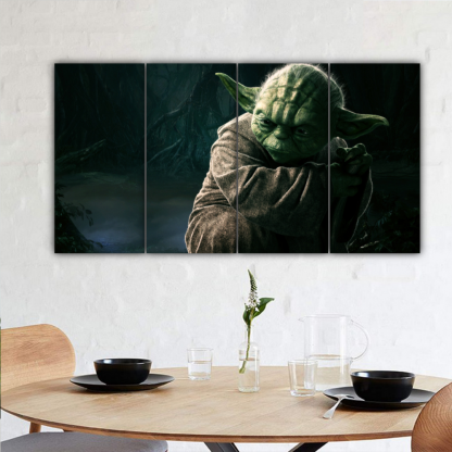 4 Panels Jedi Master Yoda Multi Canvas Art