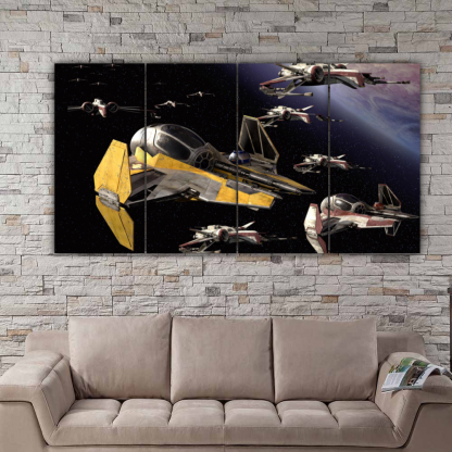 4 Panels Jedi Starfighters Multi Canvas Art