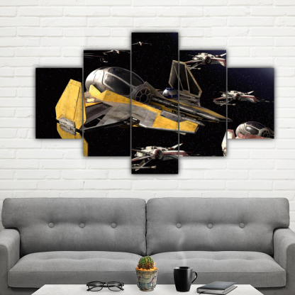 5 Panels Jedi Starfighters Multi Canvas Art