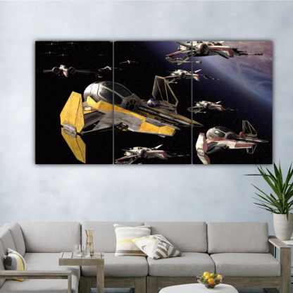 3 Panels Jedi Starfighters Multi Canvas Art