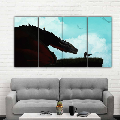 4 Panels Jon Snow and Rhaegal Multi Canvas Art