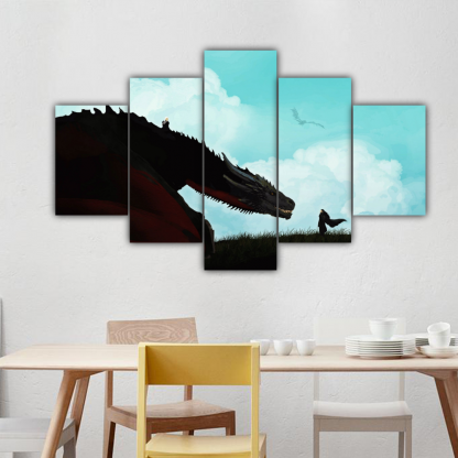 5 Panels Jon Snow and Rhaegal Multi Canvas Art