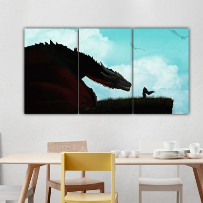 3 Panels Jon Snow and Rhaegal Multi Canvas Art
