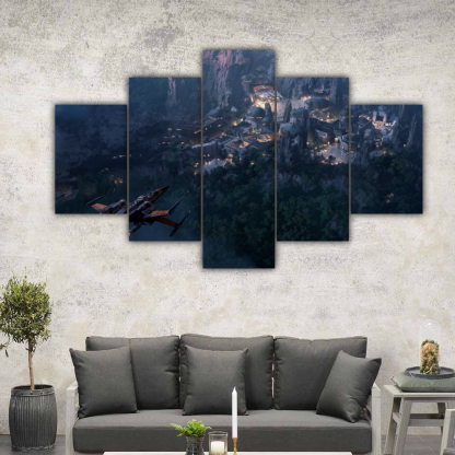 5 Panels Landing to Coruscant Multi Canvas Art