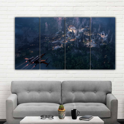 4 Panels Landing to Coruscant Multi Canvas Art
