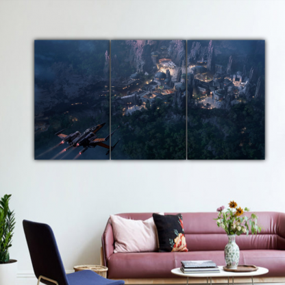 3 Panels Landing to Coruscant Multi Canvas Art