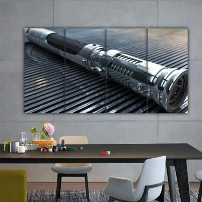4 Panels Light Saber Handle Multi Canvas Art