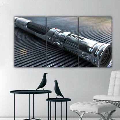 3 Panels Light Saber Handle Multi Canvas Art