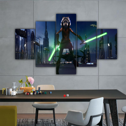 5 Panels Little Soka of Star Wars Multi Canvas Art