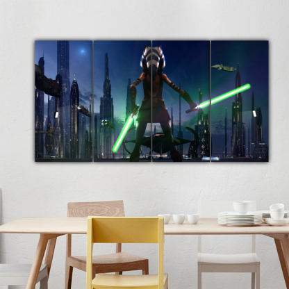 4 Panels Little Soka of Star Wars Multi Canvas Art