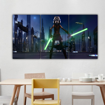 3 Panels Little Soka of Star Wars Multi Canvas Art