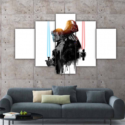 5 Panels Luke VS Darth Vader Multi Canvas Art