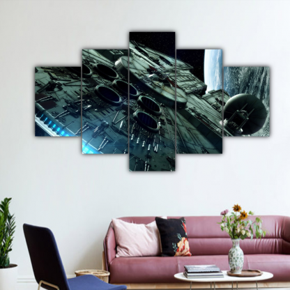 5 Panels Mighty Millennium Falcon Multi Canvas Art