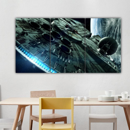 3 Panels Mighty Millennium Falcon Multi Canvas Art