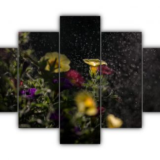 5 Panels Mist Kissed Blooms Multi Canvas Art