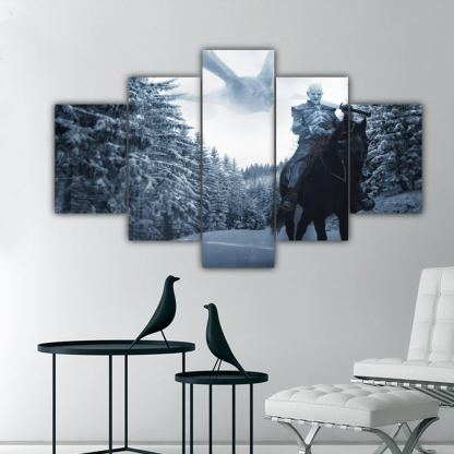 5 Panels Night King And Ice Dragon Multi Canvas Art
