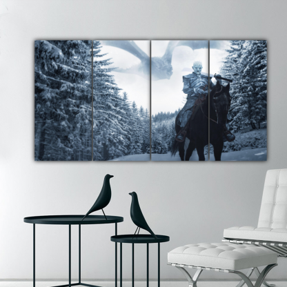 4 Panels Night King And Ice Dragon Multi Canvas Art