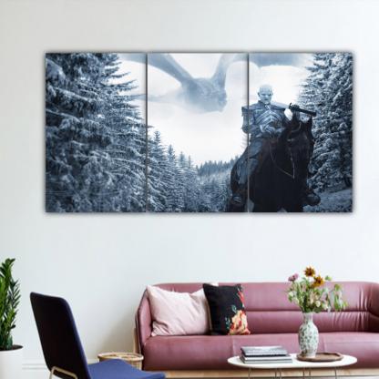 3 Panels Night King And Ice Dragon Multi Canvas Art