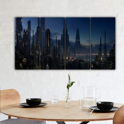 4 Panels Night Life In Coruscant Multi Canvas Art