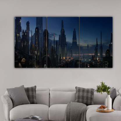 3 Panels Night Life In Coruscant Multi Canvas Art
