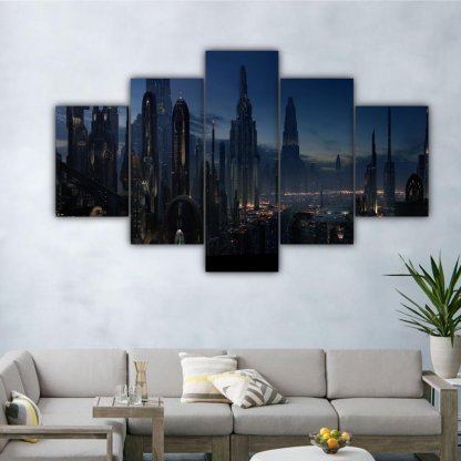 5 Panels Night Life In Coruscant Multi Canvas Art