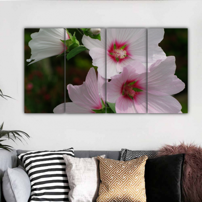 4 Panels Pink and White Flowers Multi Canvas Art