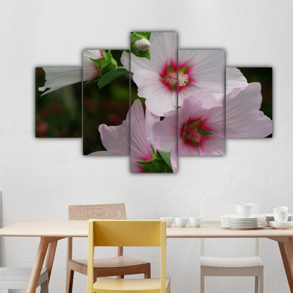 5 Panels Pink and White Flowers Multi Canvas Art
