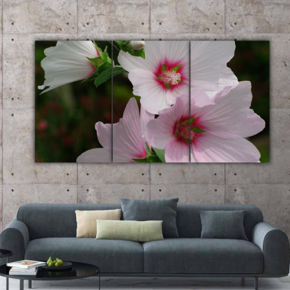 3 Panels Pink and White Flowers Multi Canvas Art