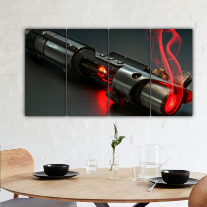 4 Panels Red Light Saber Multi Canvas Art