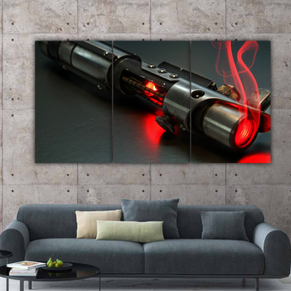 3 Panels Red Light Saber Multi Canvas Art