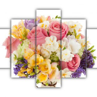 5 Panels Roses and Freesia Bouquet Multi Canvas Art