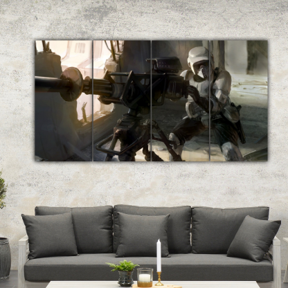 4 Panels Scout Troopers firing Multi Canvas Art