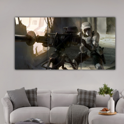 3 Panels Scout Troopers firing Multi Canvas Art