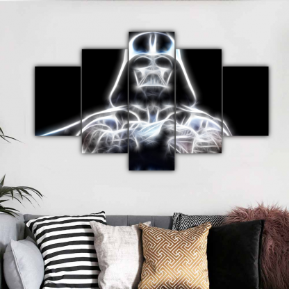 5 Panels Shining Darth Vader Multi Canvas Art