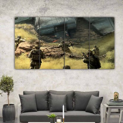 4 Panels Soldiers Attacking Multi Canvas Art