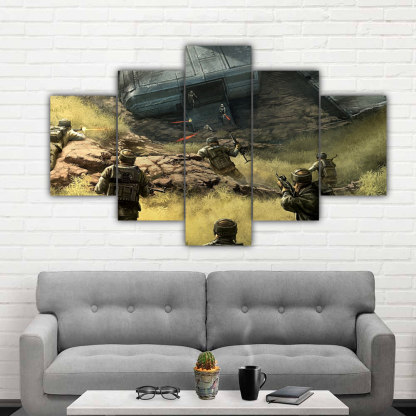 5 Panels Soldiers Attacking Multi Canvas Art