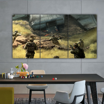 3 Panels Soldiers Attacking Multi Canvas Art