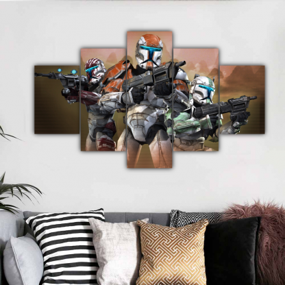 5 Panels Soldiers Of Dark Side Multi Canvas Art