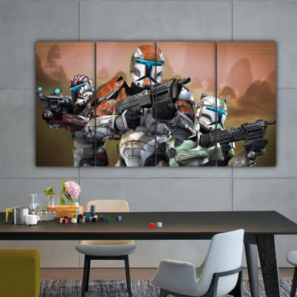 4 Panels Soldiers Of Dark Side Multi Canvas Art