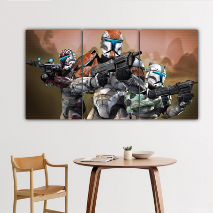 3 Panels Soldiers Of Dark Side Multi Canvas Art