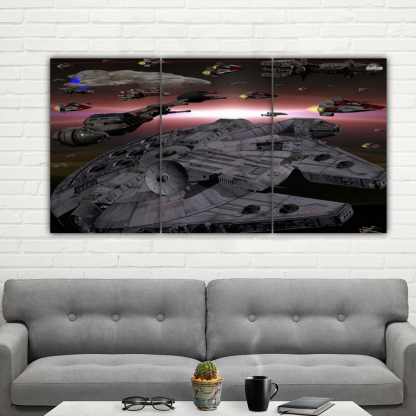 3 Panels Space Ships of Star Wars Multi Canvas Art