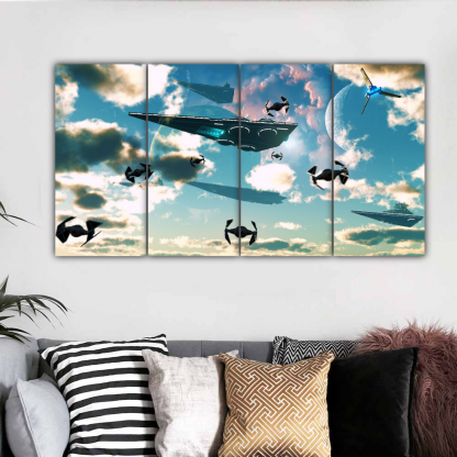 4 Panels SpaceShips Multi Canvas Art