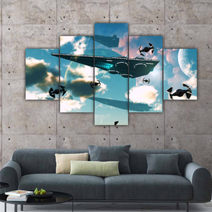5 Panels SpaceShips Multi Canvas Art