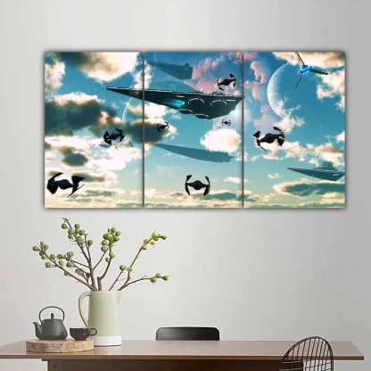 3 Panels SpaceShips Multi Canvas Art