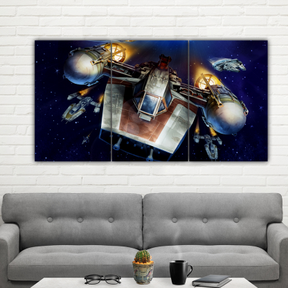3 Panels Star Wars A Wing Trainer Multi Canvas Art