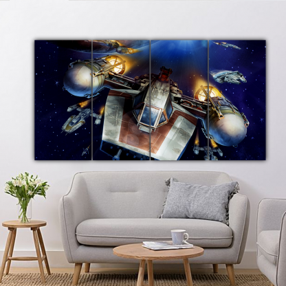 4 Panels Star Wars A Wing Trainer Multi Canvas Art