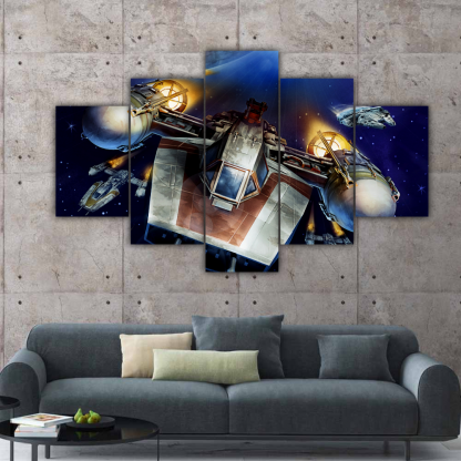 5 Panels Star Wars A Wing Trainer Multi Canvas Art