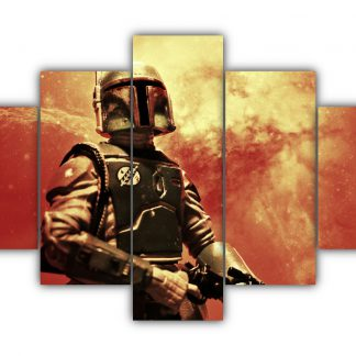5 Panels Star Wars Boba Fett Multi Canvas Art