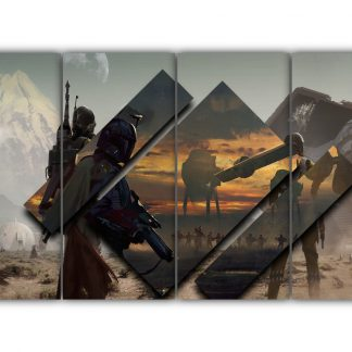 4 Panels Star Wars Boba Fett Multi Canvas Art